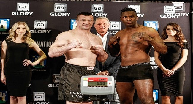 Mirko Cro Cop Filipović and Remy Bonjansky at last year's GLORY 14 weigh-ins.