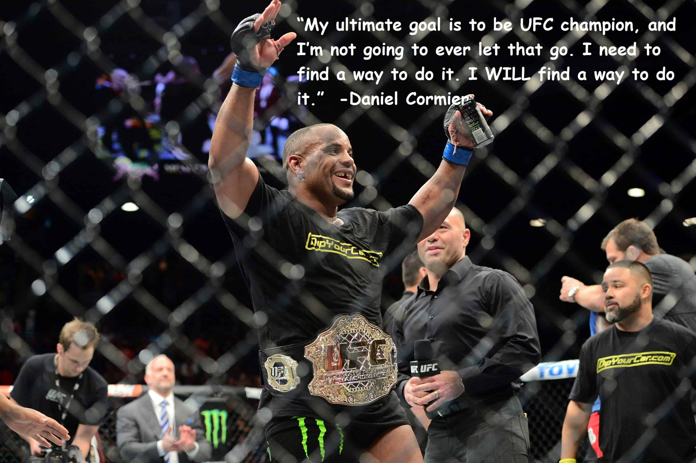 May 23, 2015; Las Vegas, NV, USA;  Daniel Cormier  celebrates after defeating Anthony Johnson (not pictured) in their light heavyweight championship bout during UFC 187 at MGM Grand Garden Arena. Cormier won via third round TKO. Mandatory Credit: Joe Camporeale-USA TODAY Sports