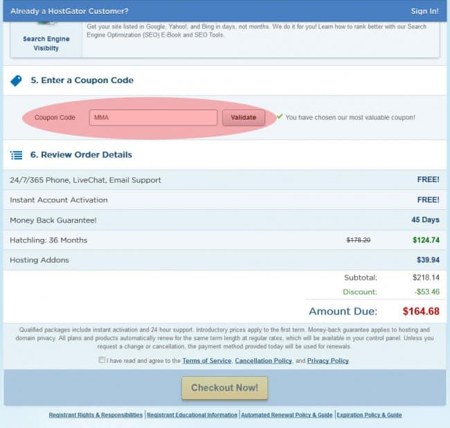 HostGator Hosting Coupon