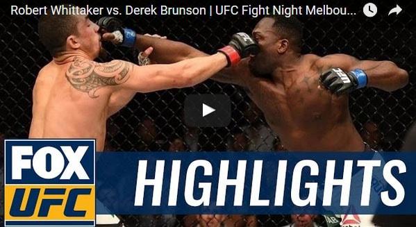 Robert Whittaker vs Derek Brunson Full Fight Video Highlights