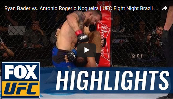 Ryan Bader vs Antonio Rogerio Nogueira Full Fight Video Highlights