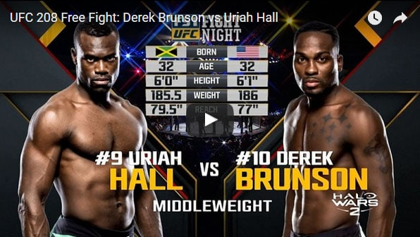 Derek Brunson vs Uriah Hall Full Fight Video