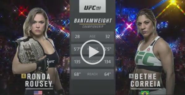 Ronda Rousey vs Bethe Correia Full Fight Video