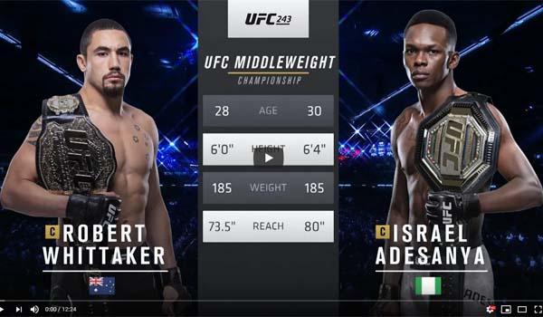 Israel Adesanya vs Robert Whittaker Full Fight Video